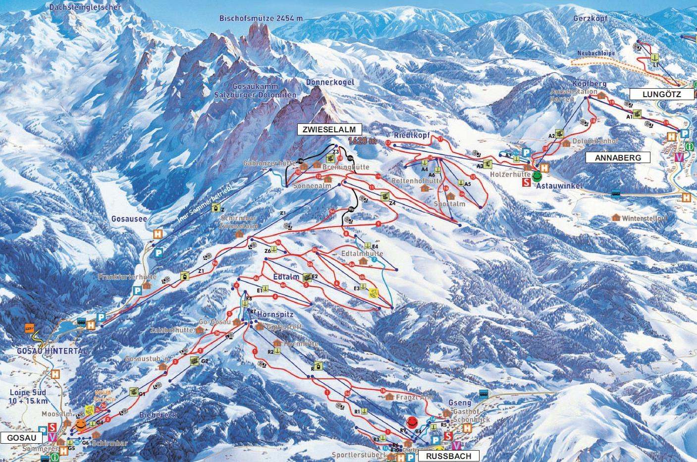 mapa střediska Dachstein